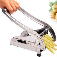 Outils de cuisine Frites Frites Jetons de pommes de terre Strip Cuisson Découper En acier inoxydable Slicer Chopper Dicer + 2 lames