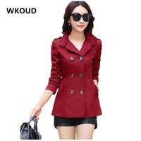 Großhandels-WKOUD Frauen Trenchcoats Hot 2016 Slim Solide Zweireiher Umlegekragen Mantel Frauen Plus Size Oberbekleidung C8104