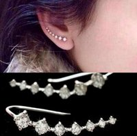 Gold Silver Color Ear Climber Paved Seven Zircon CZ Stones M...