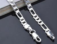 Freies Verschiffen 925 Sterlingsilber überzogene hübsche klassische Art und Weise 4MM Kettenmannarthalskette 16-30inches 3: 1 seitwärts Halskette