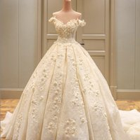 Off Shoulder Lace Tulle Ball Gown Wedding Dress With Appliqu...