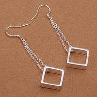 new arrival Hanging grid sterling silver plate jewelry earri...