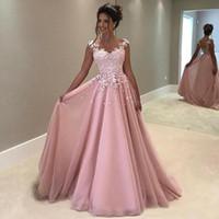 2019 erröten rosa lange Abend-Abschlussball-Kleider bloßer Ansatz-Kappen-Hülsen-Schlüsselloch-Rückseite Chiffon- Applique-Spitze-Kleid-eleganter Abendkleider