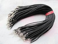 18 Zoll 4mm schwarz Faux Braid Leder Halsband Schnur, Perlen String, Lederseil, 1,8 Zoll Extender Kette, 12x7mm Karabinerverschluss, DIY Zubehör