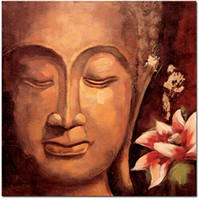 Handmade Decorated Buddha Draw Oil Painting on Canvas Abstra...
