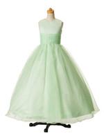 Vestidos simples del desfile de la muchacha de organza joya verde barato Vestidos de la muchacha de la flor Vestidos de fiesta de la princesa por encargo 2-14 F625139