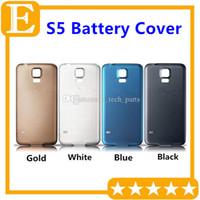 Samsung Galaxy S5 için OEM G900F G900T G900M Arka Arka Pil Kapı Kapak Konut Ile Kauçuk Mat Su Geçirmez Yedek Parçaları 100 Adet / grup