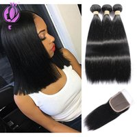 top quality 3 Bundles Malaysian Straight Hair With Closure M...