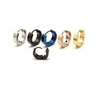 Hurtownie Nowy Classic Style 4 Kolory Okrągły Prosty Kolczyk Ze Stali Titanium Hoop Kolczyki dla mężczyzn Kobiety Dziewczyny Kolczyki 3 Pary / Lot