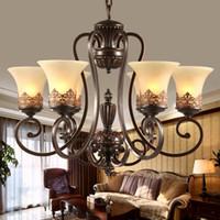 античный черный кованого железа люстра деревенский искусство ремесла бронзовая люстра с 8 огней кремовым оттенком люстры гостиная подвеска лампы