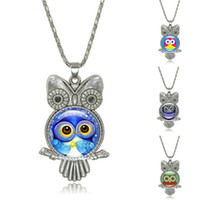 Fashion 3D Owl Time Gem Cabochon Necklace Night Bird Glass P...