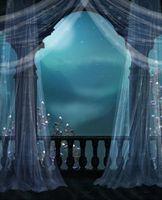 خمر قلعة شرفة الزفاف صورة خلفية ستارة بيضاء الزهور ليلة مشهد الأطفال طفل الوليد الدعائم التصوير الخلفيات