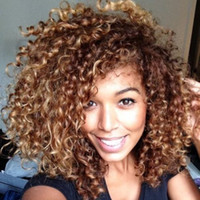 100% Новый высокое качество мода картина полный кружева wigsShaggy афро вьющиеся коричневый смешанные монолитным Vogue женщин жаропрочных волокна парик волос