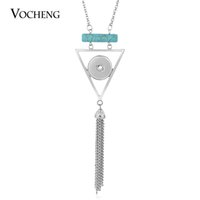 Collier NOOSA avec pendentif serpentin et gingembre, 80 cm de chaîne de chandail pour bouton en pierre de style triangle de 18mm avec chaîne en acier inoxydable VOCHENG NN-559
