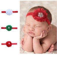 Nueva moda de bebé flor grande de navidad copo de nieve elástico diademas fiesta de las niñas accesorios para el cabello regalos de Navidad