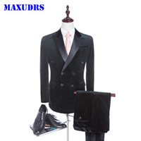 Double Breasted Groom Tuxedos New Arrival Velvet Groomsman S...