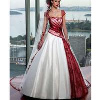 Robe de mariée blanche et rouge à manches courtes à encolure carrée Vintage A Ligne Robes de mariée dos ouvert Balayage Train Corset Plissé Personnalisé
