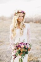 New Bohemian Hippie Lace Wedding Dresses 2018 Long Sleeves S...