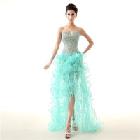 Sweetheart Lace robe de bal Perlée robes de bal peu élevé Backless Organza Court devant Long dos robe de soirée