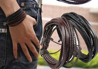 Braccialetto del braccialetto del braccialetto del multistrato di modo Braccialetto di cuoio genuino con corda intrecciata Unisex for Men Donne Bracciali a maglia a mano