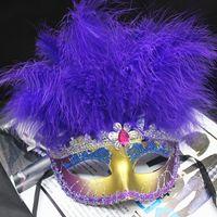 MOQ : 10PCS 여자 반 얼굴 파티 마스크 11 깃털 머리와 블 링 아이 섀도우 여자 클럽 할로윈 코스프레