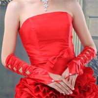 Späteste Brauthandschuhe Weiß / Elfenbein / Rot Fingerlose elegante Hochzeits-Handschuhe für Hochzeitsereignisse Hochzeits-Kleid-romantische Brautzusätze