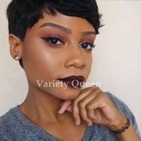 2017 New Human Hair Wig Short Pixie Cut Wig Ladies Black Sho...