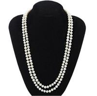 Long collier de perles 7-8mm simple brin blanc naturel collier de perles 40 pouces 925 argent