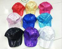 Regolabile con paillettes Cappelli per feste Club Dancer Performance Stage Adulti Bambini Berretto da baseball Glitter scintillanti Cappelli lucenti Regali di Natale