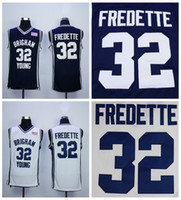 Дешевые Brigham Young Cougars Jimmer Fredette College Basketball Jersey Navy Blue # 32 Jimmer Fredette Shirts University Сшитые трикотажные изделия S-XXL