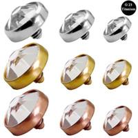 5 adet G23 Katı Titanyum Mikro Dermal Çapa Üst Dermal Cilt Dalgıç Yüzey Piercing Gül Altın Kristal Gizle Üst Göstergeler BodyJewelry