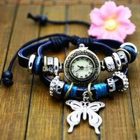 National Women Weave Rope Butterfly Pendant charm watch Black Genuine Leather trundle hoop Strap Bracelet Watches Retro wristwatch