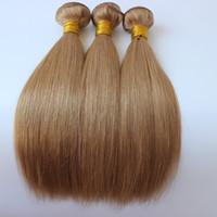 허니 금발 인간의 머리카락 번들 거래 # 27 딸기 금발 인간의 머리카락 확장 3pcs 로트 라이트 브라운 컬러 스트레이트 헤어 위브