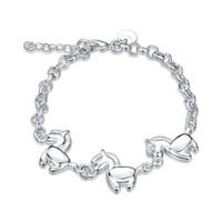 Braccialetto del cavallo dello zodiaco 925 monili placcati argento delle donne Regalo sveglio di compleanno di modo Gli accessori di fascino di stile fresco liberano il trasporto 10piece / lot