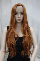 Neue Mode keine Pony Seitenhaut Teil Top Frauen orange braun lange lockige gewellte Perücke kostenloser Versand