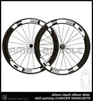 شحن مجاني 25 ملليمتر العرض hed الطلاء 60 ملليمتر الكربون العجلات الكربون كامل 700c الطريق دراجة دراجة العجلات