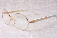 Завод прямых высокого качество качества круглых очков товары 7550178 белого рог буйвола очки популярен очки Размер: 57-22-135 мм