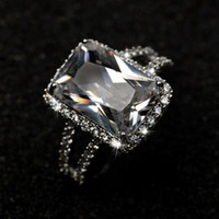 Taille 5-9 Nouvelles Femmes De Mode Bijoux choucong 10KT Whitre Or Rempli Solitaire 8CT Blanc Topaze CZ Diamant Princesse Lady Bague De Mariage Ensemble