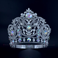 Pageant Crowns Rhinestone Crystal AB Silver Miss Beauty Quee...