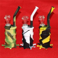 Nuevo Hookahs Silicon Water Pipes Silicon Bongs Joint 14.4mm Long Pipes Glass Bongs Colorful Silicone Barrel Rigs DHL