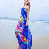 Atacado - Hot Sale Scarf Verão Mulheres Beach Sarongs Chiffon Scarves Geometrical Swimsuit Cover Up Dress Wraps