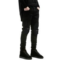 Toptan-Yeni moda erkekler ve kadınlar için kot pantolon Küçük streç kot yırtık