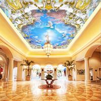 Foto 3D Immagini per pareti Blue Sky Nuvole bianche Ciliegio 3D Zenith Murals for Living Room Hotel Sala riunioni Sfondi per soffitti