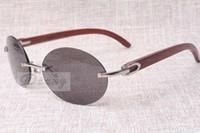Lunettes de soleil rétro de mode ronde haut de gamme 8100903 Sunglasses de miroir en bois naturel Les lunettes de soleil de meilleure qualité Lunettes SI Qnel