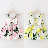 Wholesale- Toddler Infant Kids Baby Girls Summer Floral Lemon Bownot Dress Princess Party Wedding Tutu Dresses
