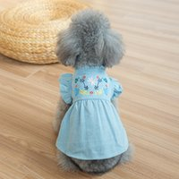 New embroider flower pet dog clothes denim dog dress puffed ...