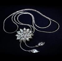Cyrkon Snowflake Długi Naszyjnik Sweter Łańcuch Moda Fine Metal Chain Crystal Rhinestone Kwiat Wisiorek Naszyjniki regulowane