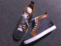 Fashion Red Bottom High Top Women, Men Shoes Spikes Sneakers ...