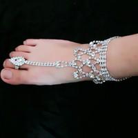 Mode femmes pied bijoux plage mariage cristal blanc strass Cheville Sandales Aux Pieds Nus Pour Mariage Accessoires De Bijoux