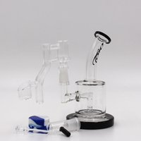 black toro glass oil rig bong with quartz banger water pipes...
